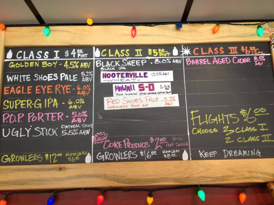 beer on tap at white flame brewery