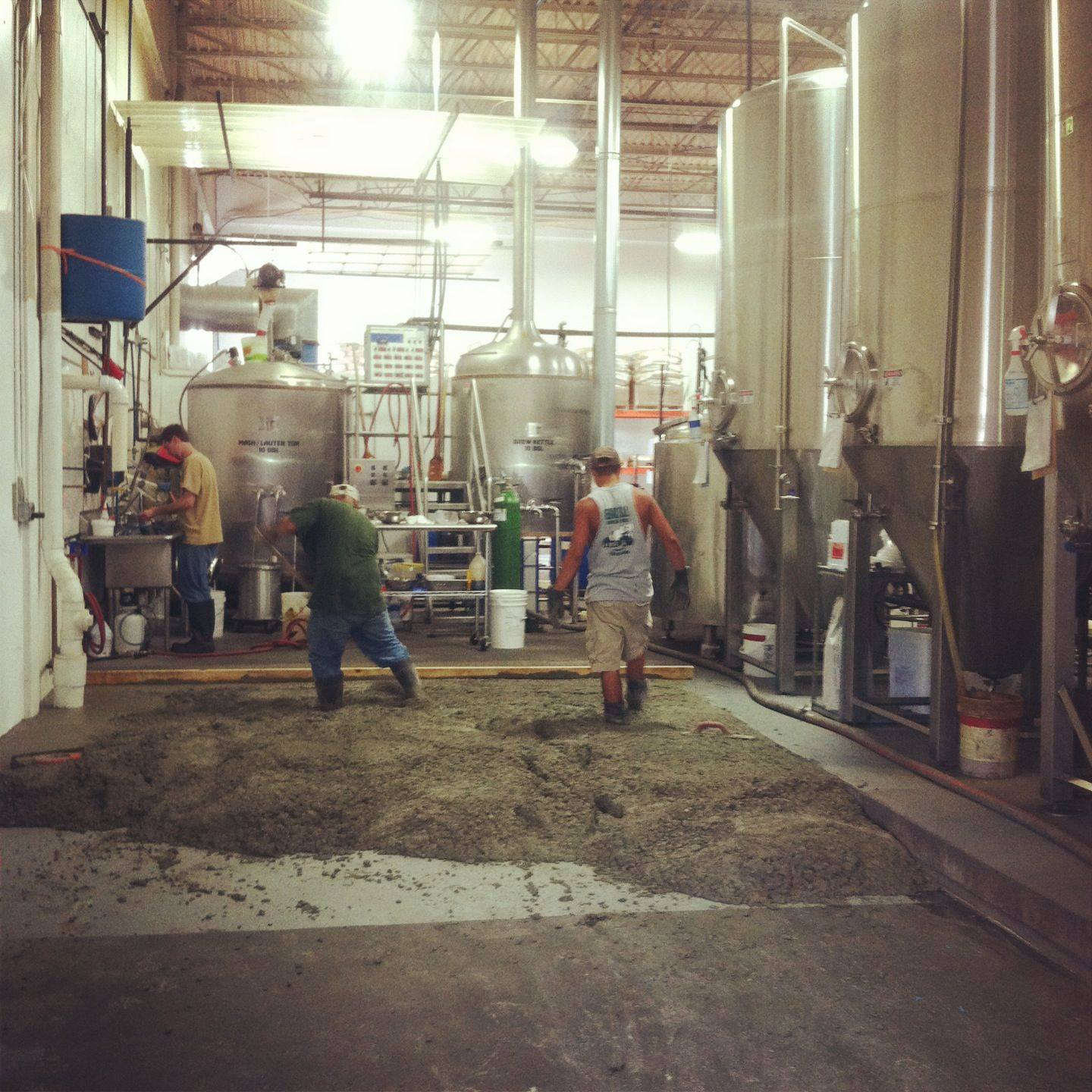 pouring cement for new brew tanks