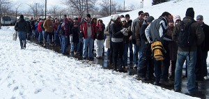 Long lines at winter beer fest